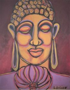 Buddha with purple lotus