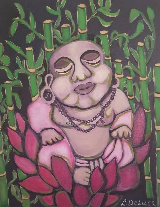 Buddha sitting in Lotus Flower - Pink Lotus Art