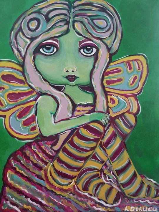 Green Fairie - Pink Lotus Art