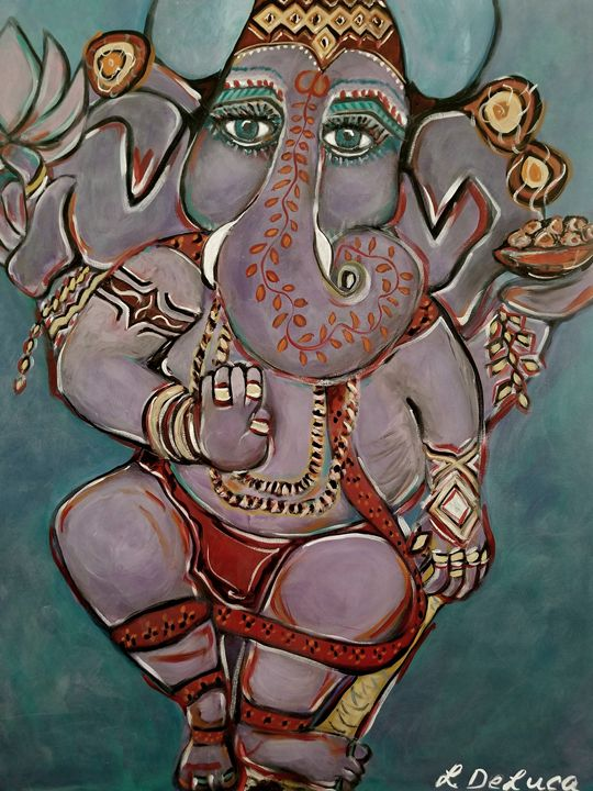 Ganesha Pink Lotus - Pink Lotus Art