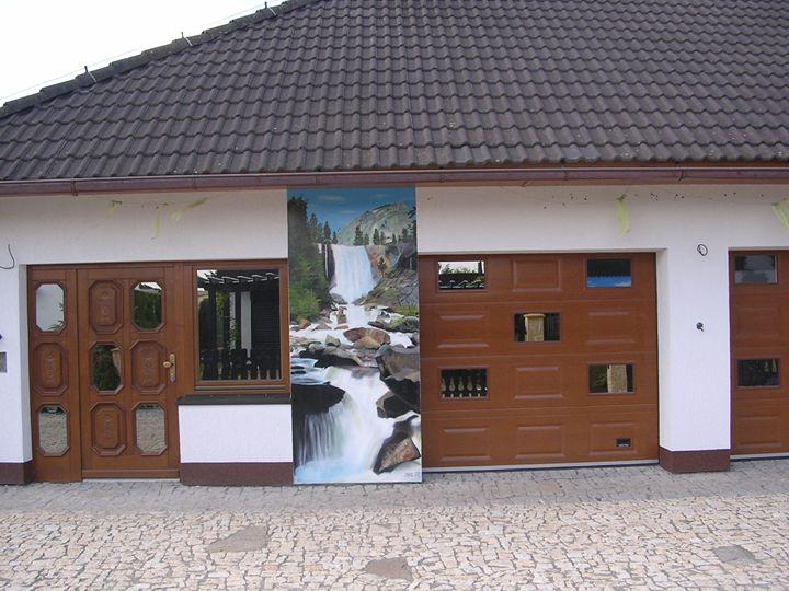 Mural on garage-waterfall - Jaroslav Jerry Svoboda