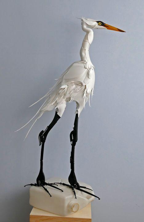 White Stalker - The Great Egret - sandie m sutton