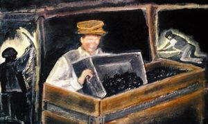 Miners Boy using a Curling Box