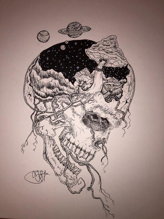 trippy skull - Aliyah's Art