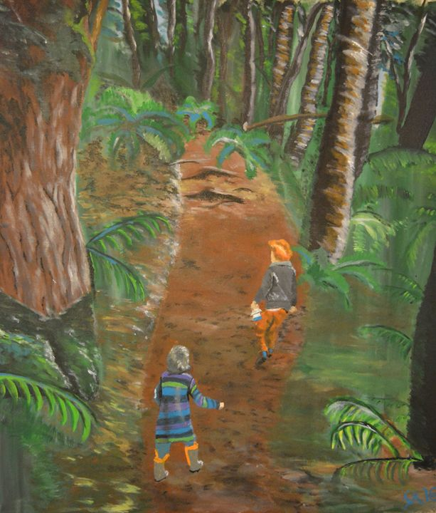 Children on a Hike - Sasha Kendrick Art