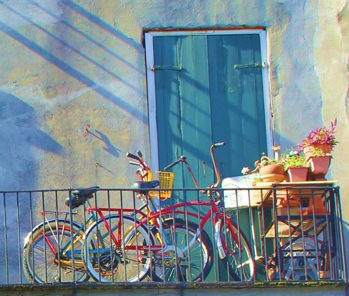 Bicycles on a Balcony - Bluu Art