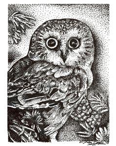 Pointillism Owl - Nature Print