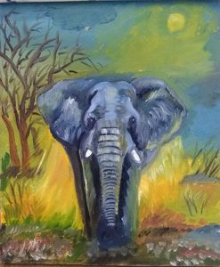 Elephant canvas wall painting