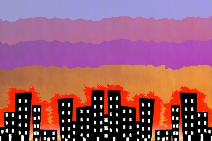Sunset on the City - Chris Bradbury Art
