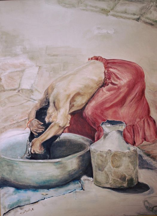 The Girl Washing her Hair - Art2DrClaire