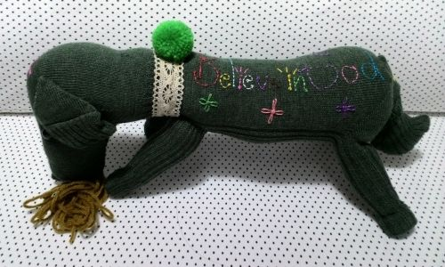 Green puppy doll - Handmade Dolls