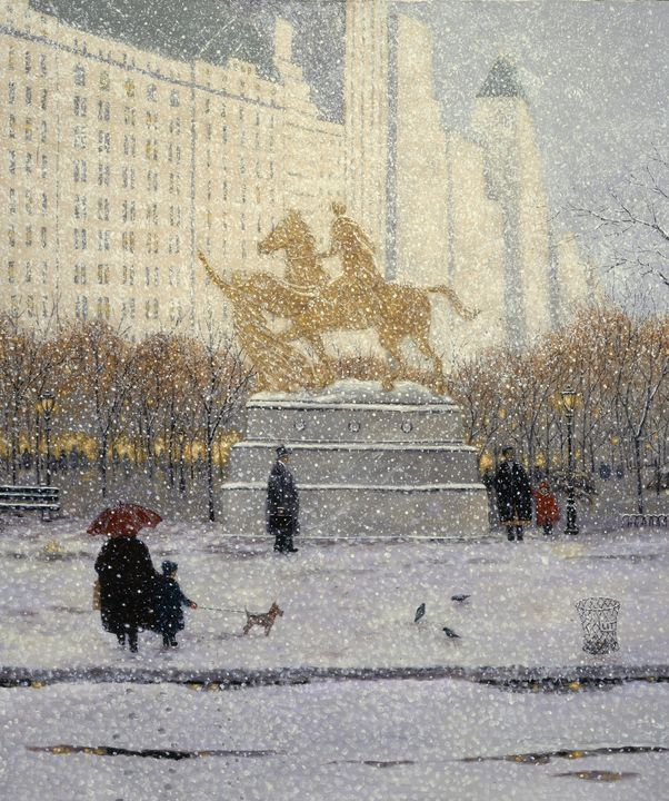 Winter Walk to The Plaza - Sunflower Fine Art Galleries, Mirrors, and  Pictur