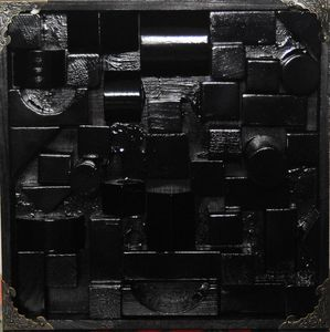 1 Square block (wooden sculpture) - Conrad Bloemers