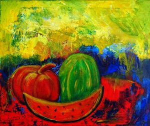 Melons in my kitchen (still life oil