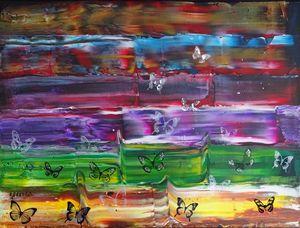 Butterfly landscape(framed artwork)