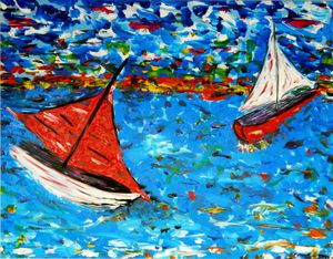 Sail away (framed art on board)