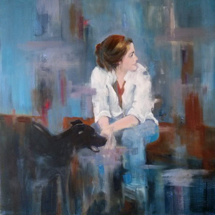 Young Woman with Her Dog - Patton Hunter Fine Art