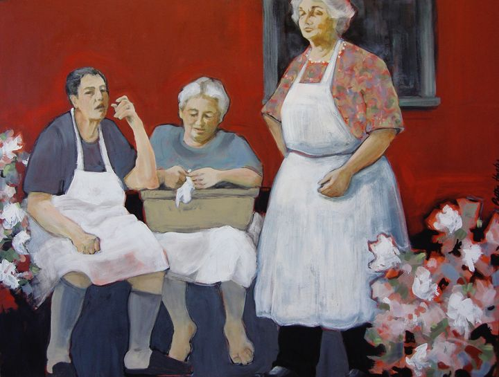 Gossip Break in Porto Market - Patton Hunter Fine Art