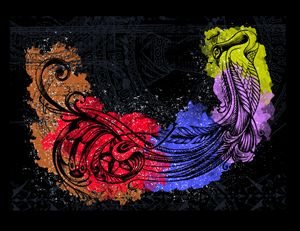 modern art peacock