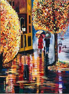 Autumn rain in the city