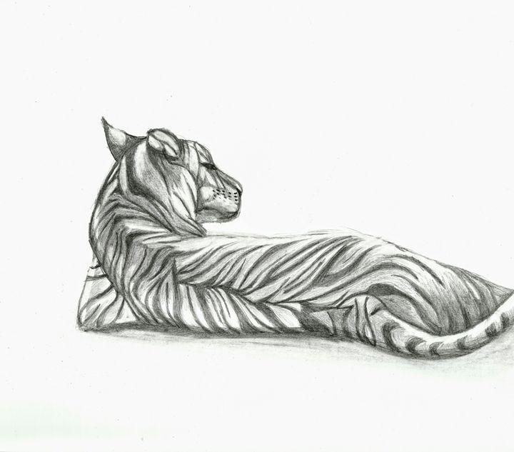 Content Tiger Drawing - Natasha Lovell Art