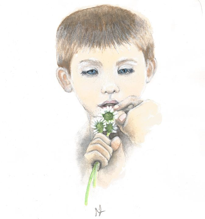 Little Boy With Daisies - Natasha Lovell Art