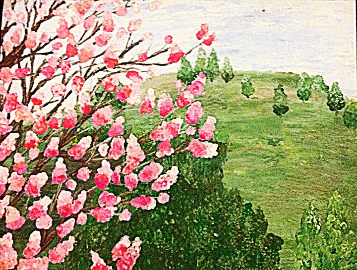 Cherry Blossom Tree in a Meadow - Renad's Impressions