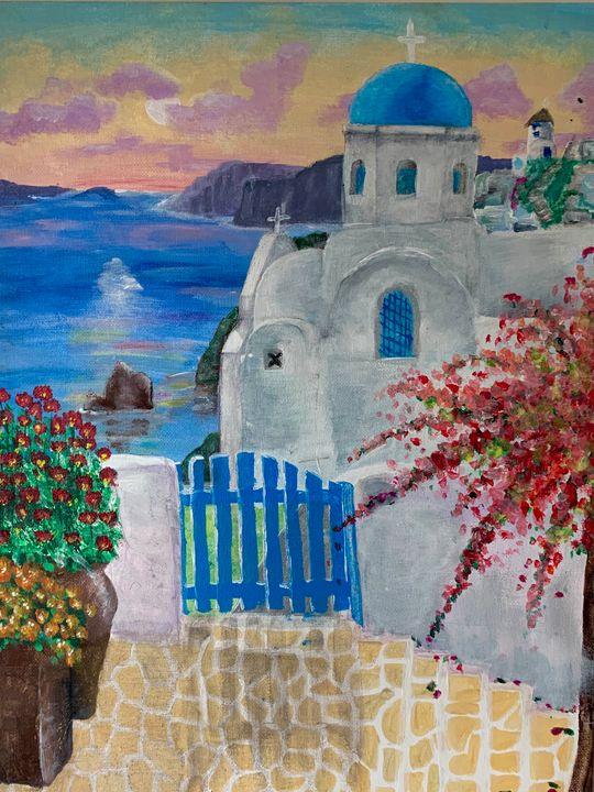 Greece acrylic painting - Sarah Leventis