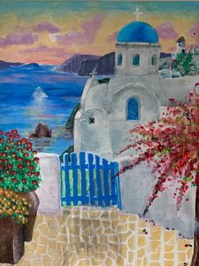 Greece acrylic painting