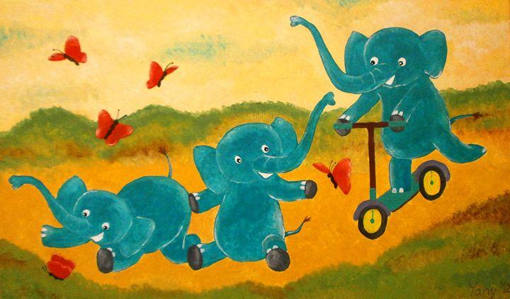 Happy three elephants IV - Art by Yany
