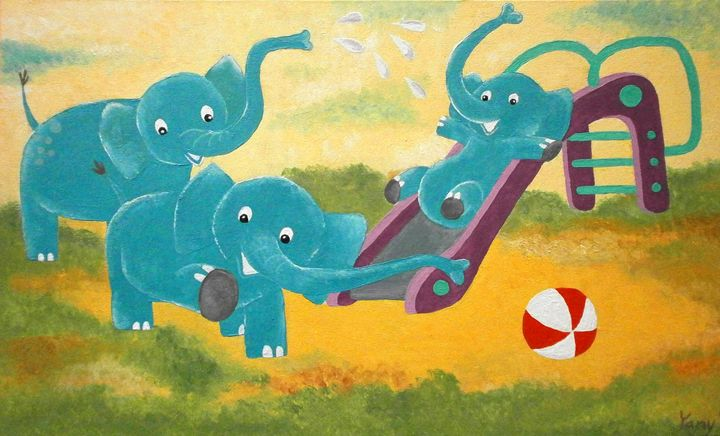 Happy three elephants III - Art by Yany