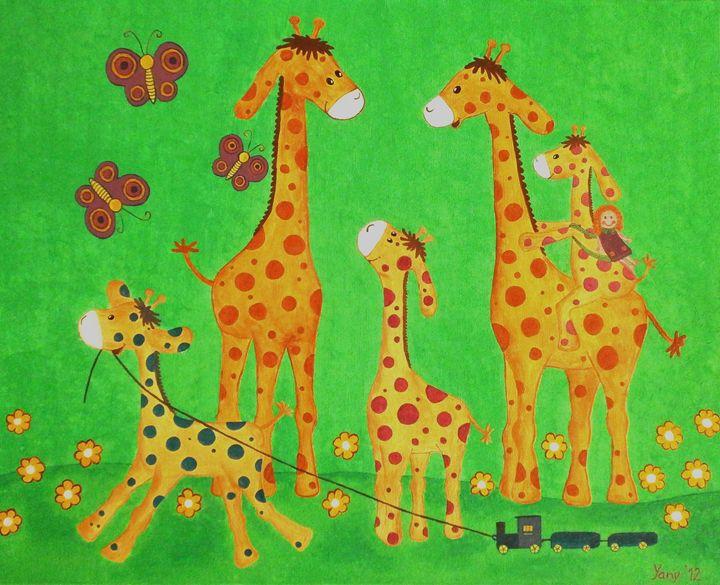 Giraffe s family II - Art by Yany