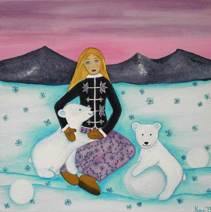 Gerda with polar bears - Art by Yany