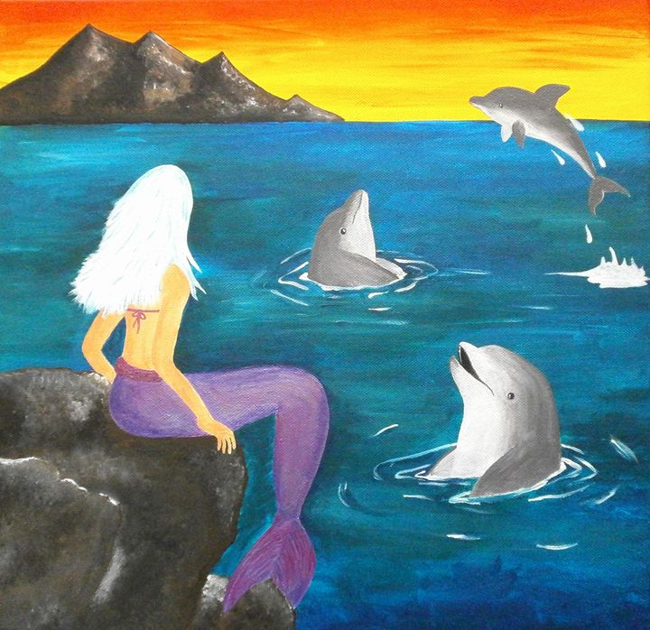 A sunset with mermaid - Art by Yany