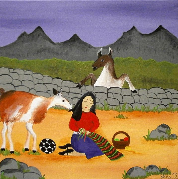 The Bolivian llamas - Art by Yany
