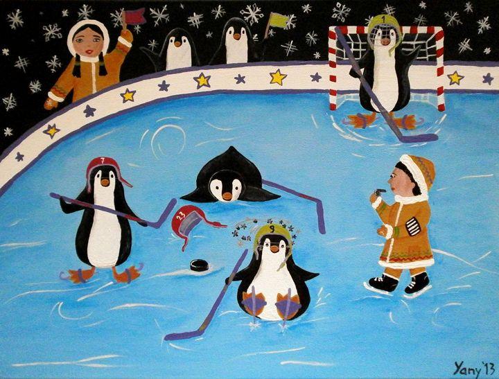 The penguin s hockey league - Art by Yany