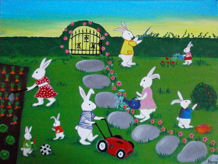 The bunnies gardeners - Art by Yany
