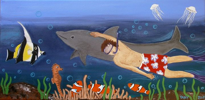 Diving with a dolphin - Art by Yany