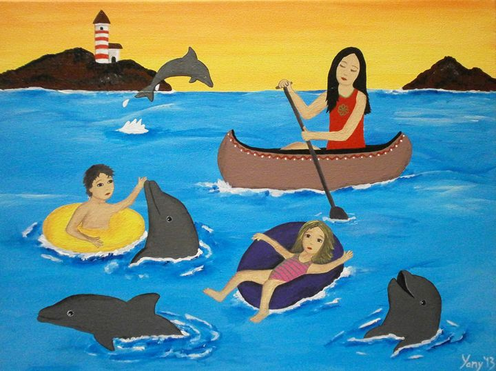 Swimming with dolphins - Art by Yany