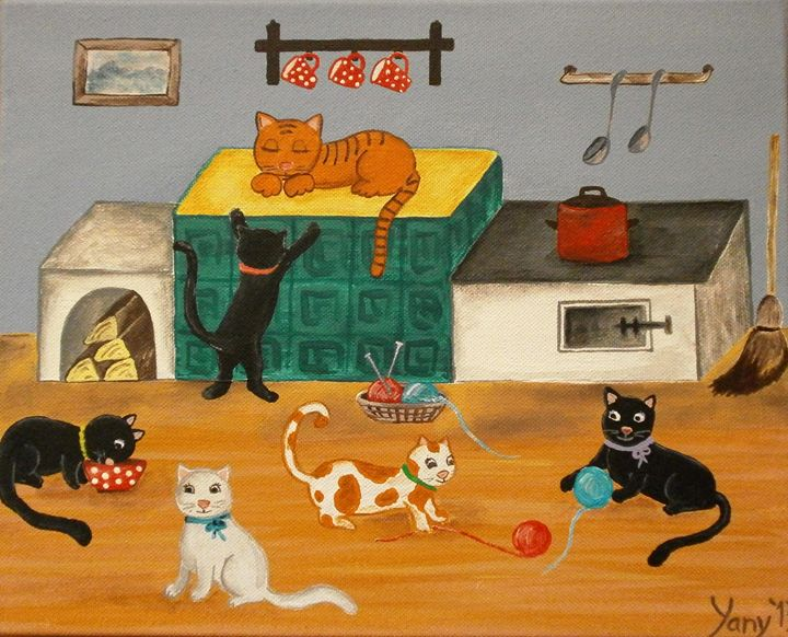 Cats home alone - Art by Yany