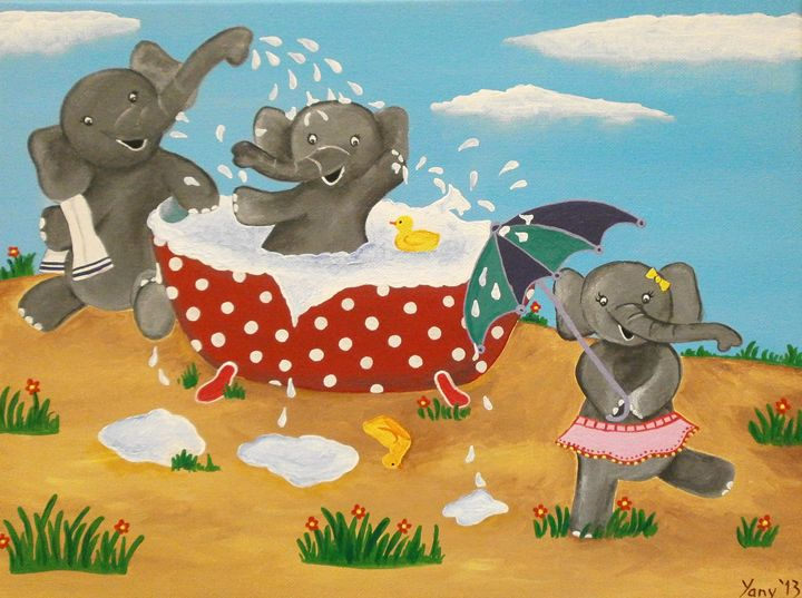 Happy three elephants - Art by Yany