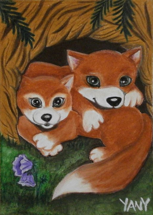 Two little foxes - Art by Yany