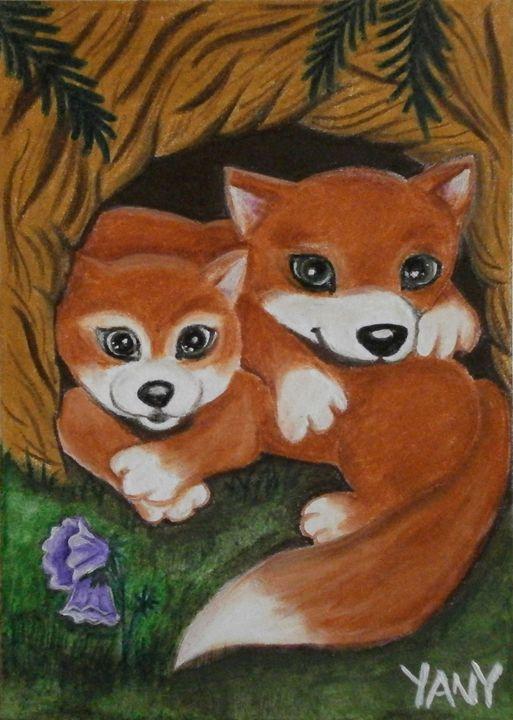Two little foxes - Art by Yany