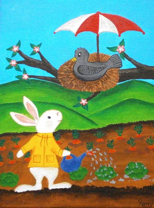 A bunny gardener - Art by Yany