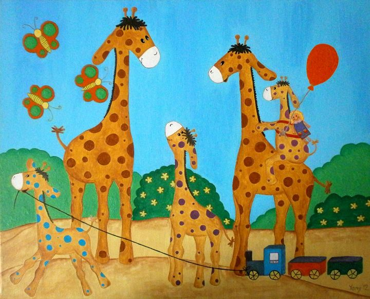 The giraffe s family - Art by Yany