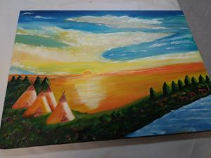 Sunset with teepees