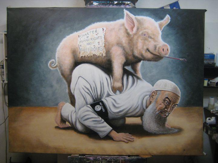 A disgusting beast rape by a pig - Paintings by VIG