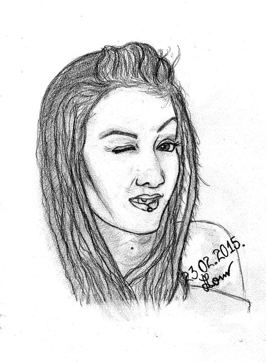 Winking Girl - Art Drawings