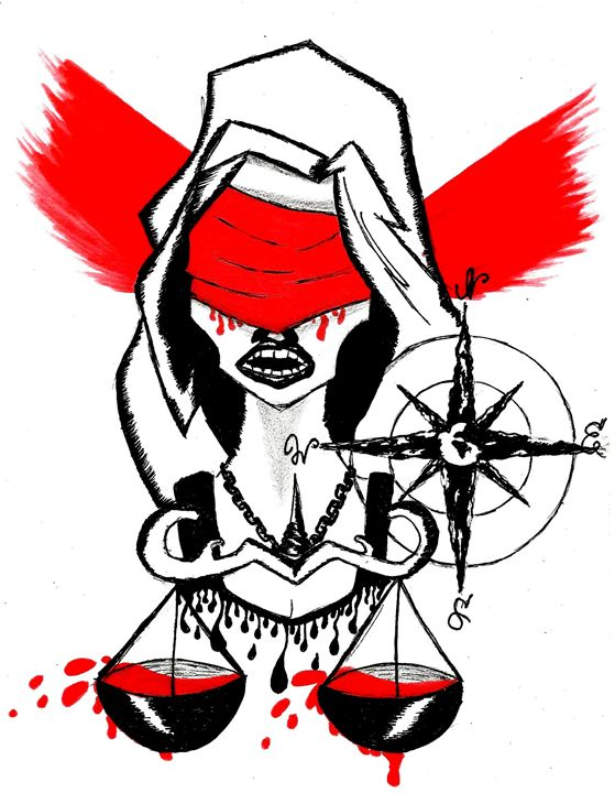 Lady Justice Tattoo Design - Art Drawings