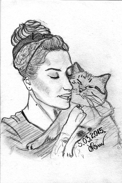 Girl with a cat - Art Drawings